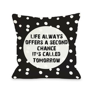 Second Chance Dot - Black White  Pillow by OBC