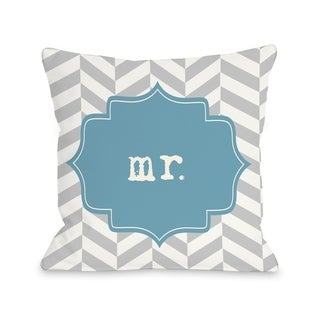 Mr. Chevron - Blue  Pillow by OBC
