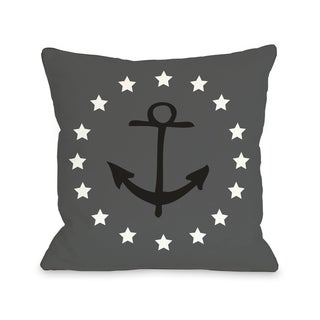 Anchor Circle Stars - Gray Black  Pillow by OBC