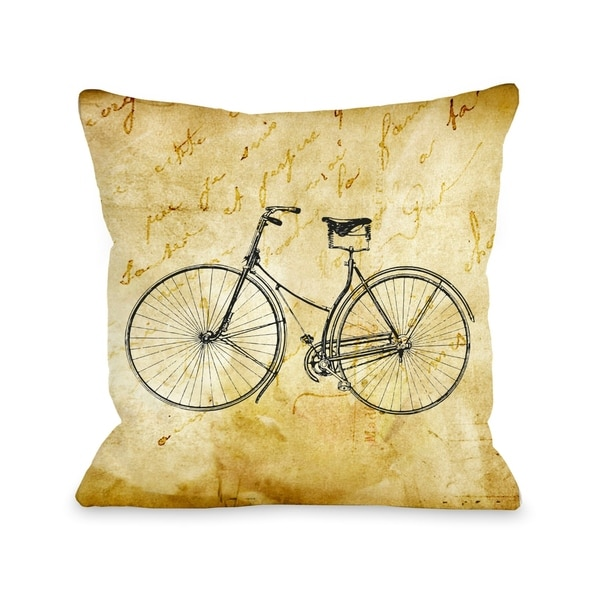 Vintage Bike 18x18 Pillow by OBC