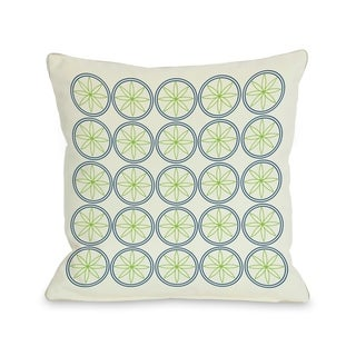 Circles & Flowers - Green 18x18 Pillow by OBC