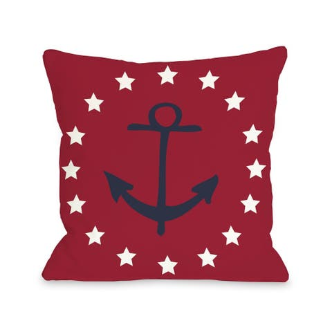 Anchor Circle Stars - Red Blue Pillow by OBC