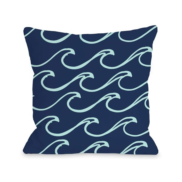 Kayla Wave - Dark Blue Pillow by OBC