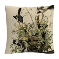 John James Audubon 'Mocking Birds And Snake Ii' 16 X 16 Decorative Throw Pillow