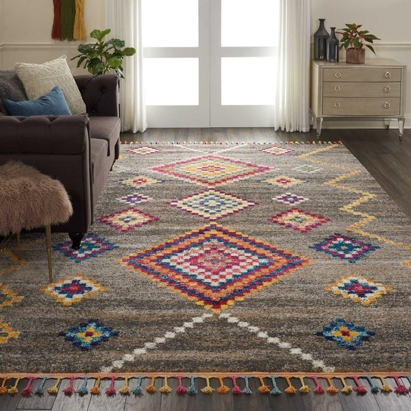 Shop Nourison Casbah Grey/Multicolor Moroccan Tassel Area