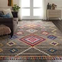 """Nourison Casbah Grey/Multicolor Moroccan Tassel Area Rug - 8'10"""" x 12'"""