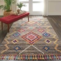 """Nourison Moroccan Casbah Grey/Multicolor Tassel Rug - 3'11"""" x 6'"""