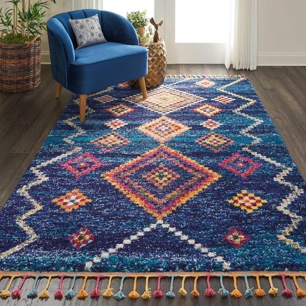 Shop Nourison Moroccan Casbah Navy/Multicolor Tassel Rug