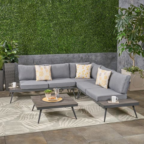 Norfolk Outdoor V-Shaped 5 Seater Sofa Set by Christopher Knight Home