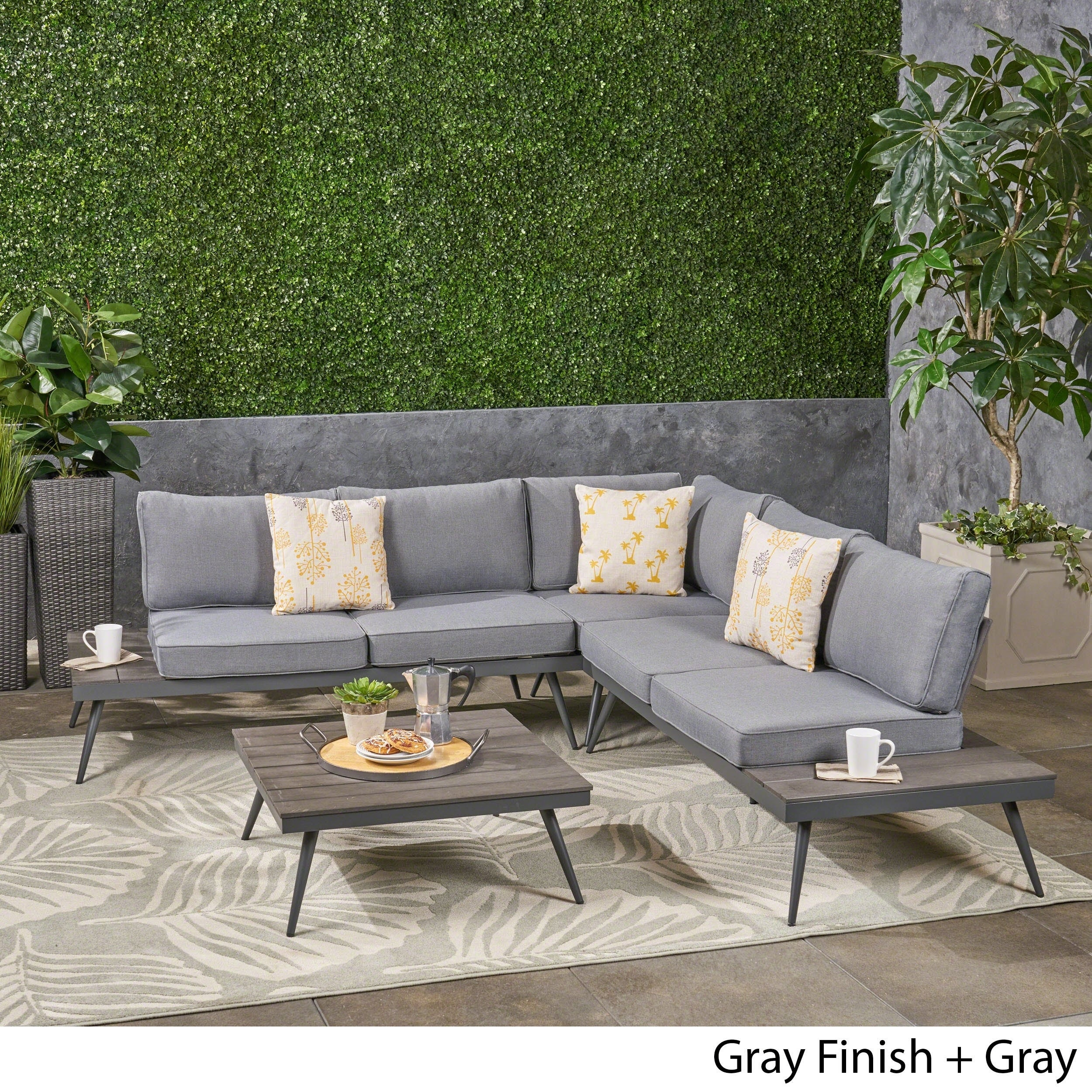 Norfolk Outdoor V-Shaped 9 Seater Sofa Set by Christopher Knight Home