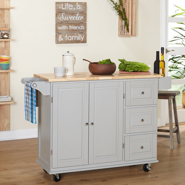 shop simple living aspen 3 drawer drop leaf kitchen cart in white natural as is item free. Black Bedroom Furniture Sets. Home Design Ideas