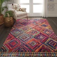 Nourison Moroccan Casbah Red/Multicolor Tassel Rug - 5'3 x 7'9