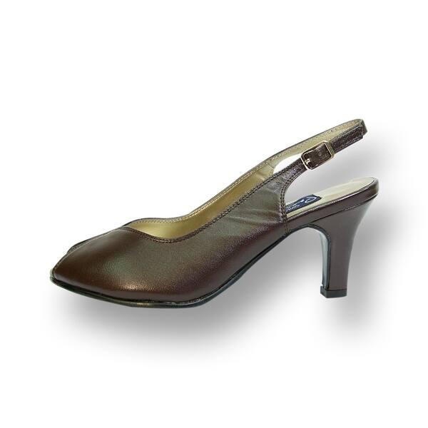 974738f46f9 ... PEERAGE Zara Women Extra Wide Width Peep Toe Mid Heel Pump with Buckle  ...