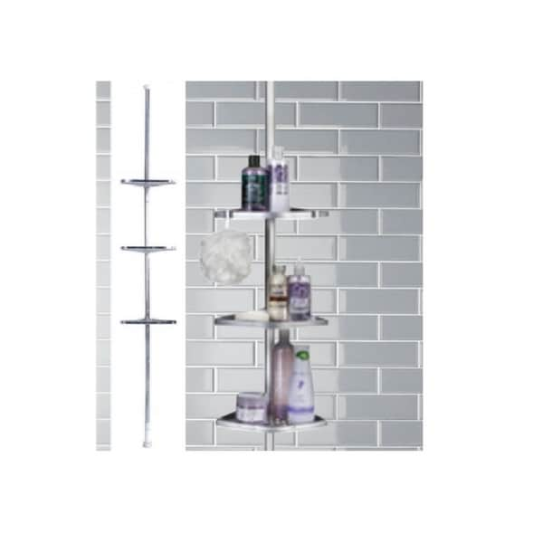 3 Tier Chrome Tension Pole Shower Caddy (LDD)   Silver