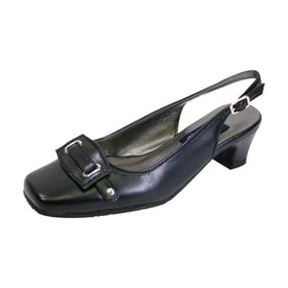 496d376e1b83 PEERAGE Annabelle Women Extra Wide Width Square Toe Slingback Pumps