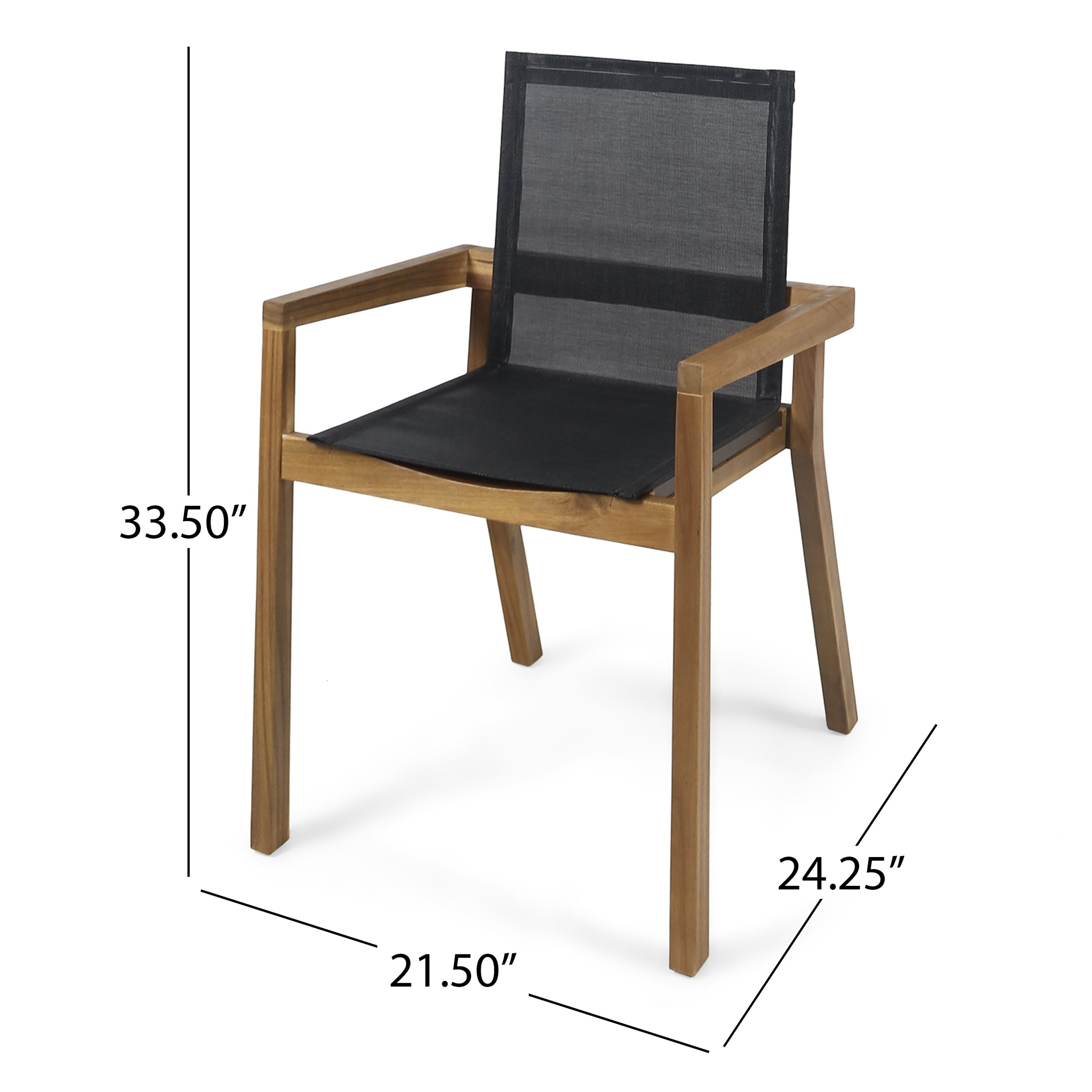 Belfast outdoor acacia and mesh dining chairs set
