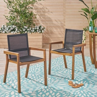 Belfast Outdoor Acacia and Mesh Dining Chairs (Set of 2) by Christopher Knight Home