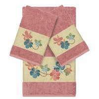 Authentic Hotel and Spa Turkish Cotton Floral Vine Embroidered Tea Rose 3-piece Towel Set