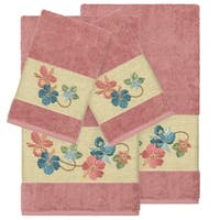Authentic Hotel and Spa Turkish Cotton Floral Vine Embroidered Tea Rose 4-piece Towel Set