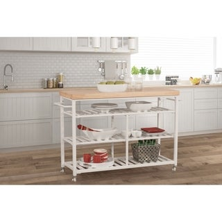 Hillsdale Kennon Kitchen Cart in White with Wood Top