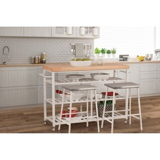 Hillsdale Kennon Kitchen Cart Set with Natural Wood Top with Two Non-Swivel Counter Stools - White Finish