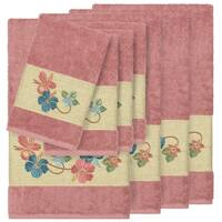 Authentic Hotel and Spa Turkish Cotton Floral Vine Embroidered Tea Rose 8-piece Towel Set