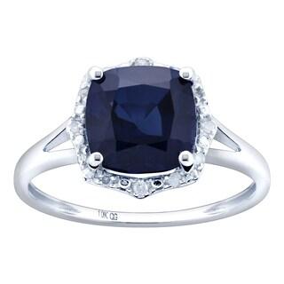 10K White Gold 3.26ct TW Sapphire and Diamond Split Shank Ring - Blue