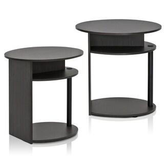 Furinno JAYA Simple Design Oval End Table Set of 2, Walnut, 2-15080WNBK