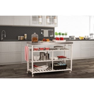 Hillsdale Kennon Kitchen Cart in White with Stainless Steel Top