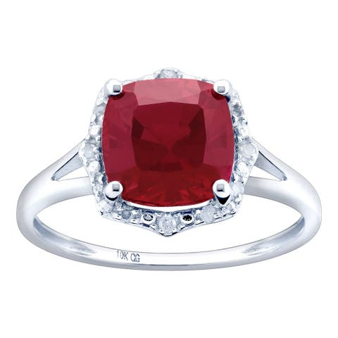 10K White Gold 3.10ct TW Ruby and Diamond Split Shank Ring - Red