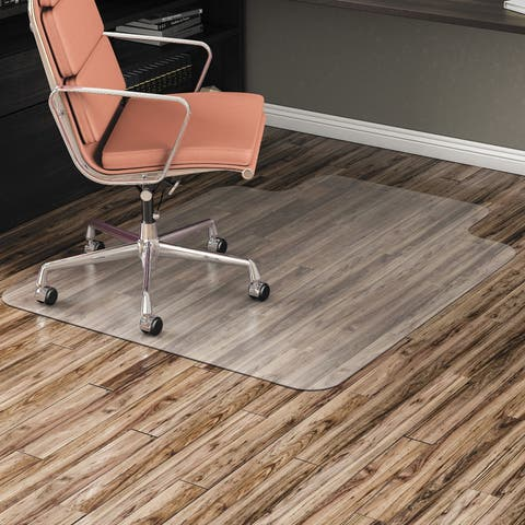 All Day Use Non-Studded Chair Mat for Hard Flrs,45 x 53, Wide Lipped