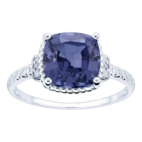 10K White Gold 3.28ct TW Tanzanite and Diamond Ring - Purple