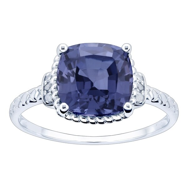10K White Gold 3.28ct TW Tanzanite and Diamond Ring - Purple. Opens flyout.