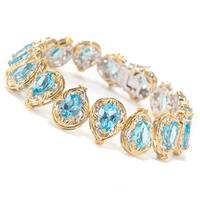 Michael Valitutti Palladium Silver Swiss Blue Topaz Tennis Bracelet