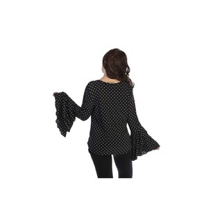 Plus size top, blk with white polka dots, crewneck,3 layers flared long sleeve (size-3x)