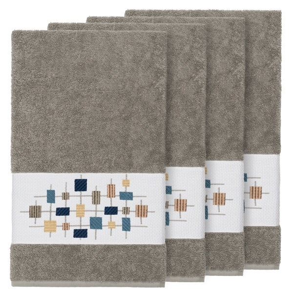 Authentic Hotel And Spa Turkish Cotton Squares Embroidered Dark Grey 4 Piece Bath Towel Set