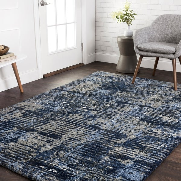 Shop Transitional Navy Blue Grey Abstract Rug 9 2 X 12