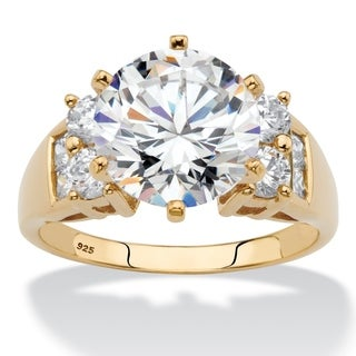 Yellow Gold over Sterling Silver Cubic Zirconia Engagement Ring (More options available)
