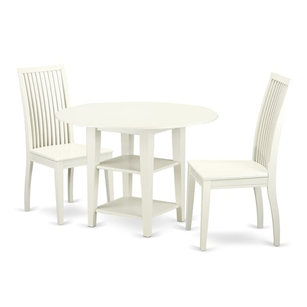 SUIP3-LWH-W 3PcSet - 1 Table & 2 Chairs -In A Linen White