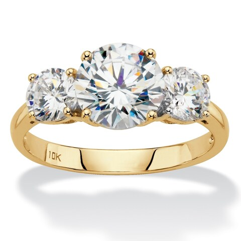 10K Yellow Gold Cubic Zirconia 3-Stone Bridal Ring