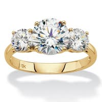 10K Yellow Gold Cubic Zirconia 3-Stone Bridal Ring