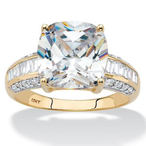 10K Yellow Gold Cubic Zirconia Engagement Ring
