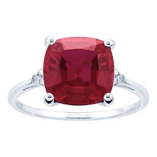 10K White Gold 3 05ct TW Ruby And Diamond Ring Red