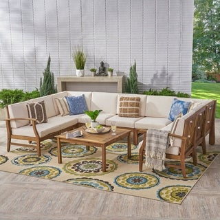 Perla Outdoor 9 Seater Acacia Sectional Sofa Set with Cushions by Christopher Knight Home