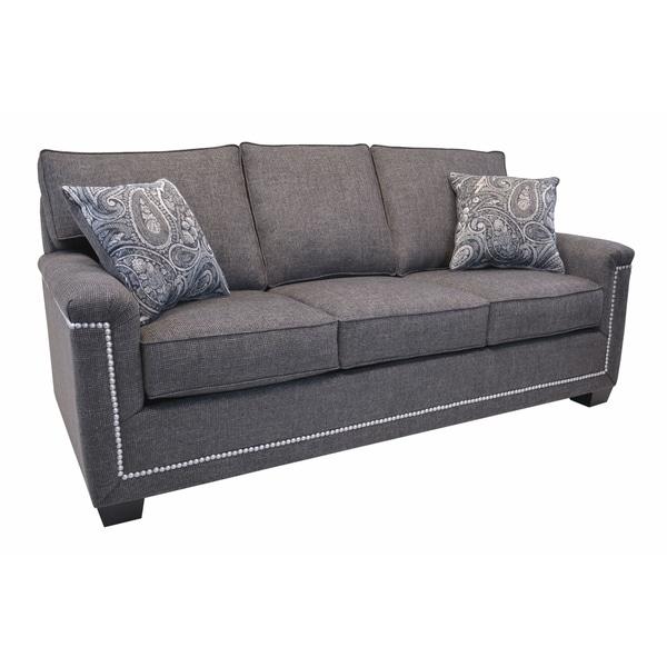 Simone Grey Fabric Sofa With Nailhead Trim On
