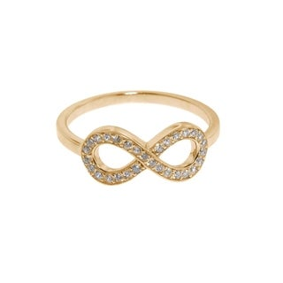 Eternally Haute Solid 14K Gold plated Sterling Silver Pave Infinity Ring