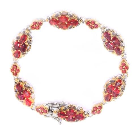 Gems en Vogue Palladium Silver Blood Orange Sapphire Cluster Bracelet