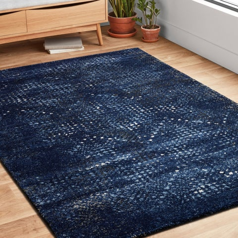 Transitional Navy Blue Abstract Rug - 3'10 x 5'7