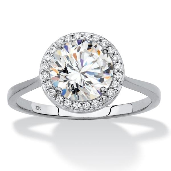 Shop 10K White Gold Cubic Zirconia Halo Engagement Ring