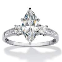 10K White Gold Cubic Zirconia Engagement Ring